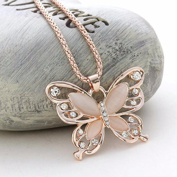 Big butterfly necklace Statement necklace for women (Close up view)