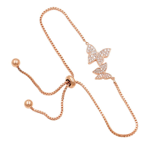 Bracelets for women Butterfly bracelets (Rose gold)