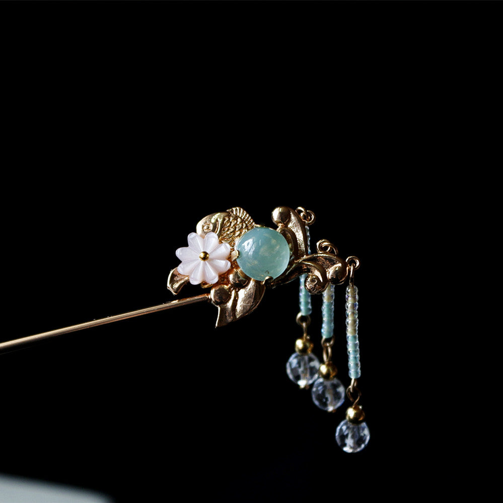 Chinese hair stick with crystal and glass beads