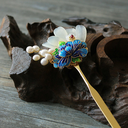 Chinese hair sticks, decorated with pearls and enamel cloisoone etc.