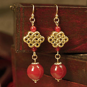 Drop earrings with Chinese knot. These endless knots are lucky symbols in Asian cultures