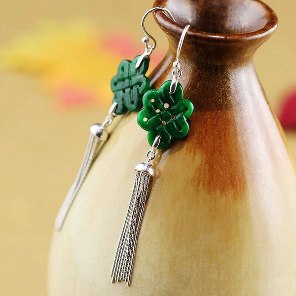 Sterling silver long earrings, with green jade Chinese knots