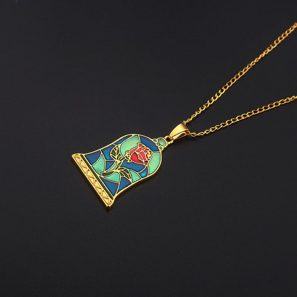 """Beauty and the Beast"" Enchanted Rose Necklace"