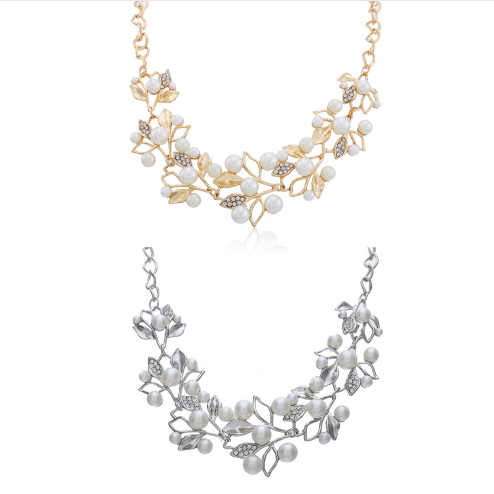 Flower necklace statement necklace for women 2 colors together