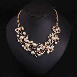Flower necklace statement necklace for women Gold