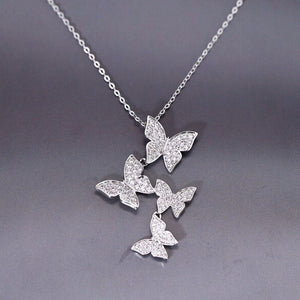 Garden Butterfly necklace Sterling silver necklace for women (main front view)