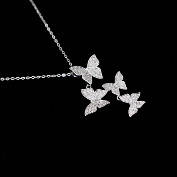 Garden Butterfly necklace Sterling silver necklace for women (pendant in black background)