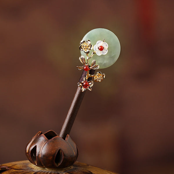 green jade red agate hair stick