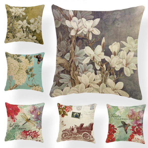 Dragonflies and Butterflies -- Vintage style floral cushion covers (all colors)