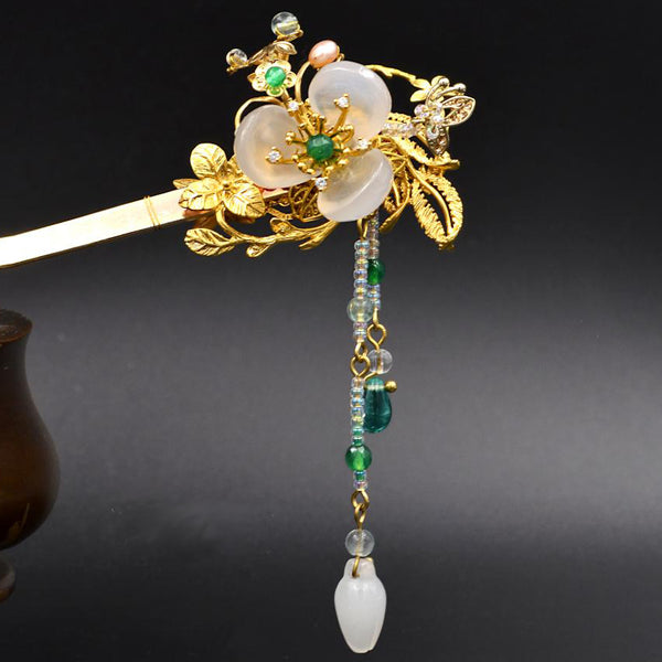 Chinese hair stick with agate flowers and 24K gold plating