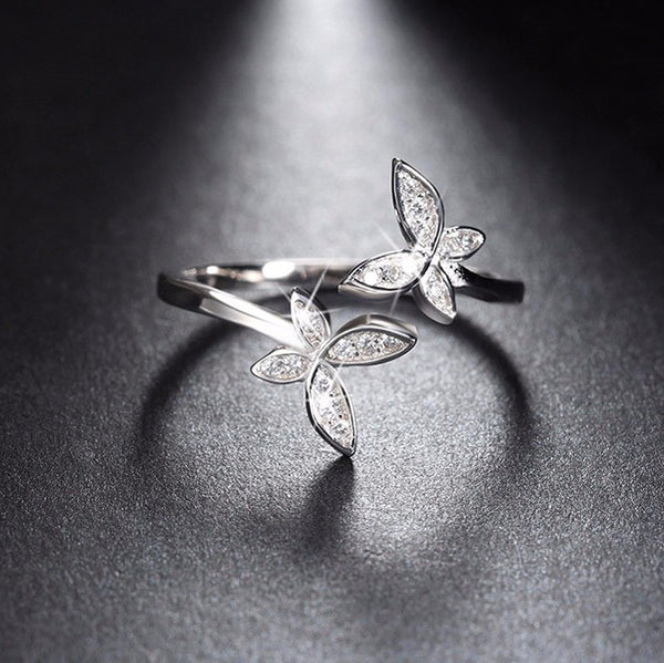 Lilia butterfly ring Sterling silver rings for women (front view)