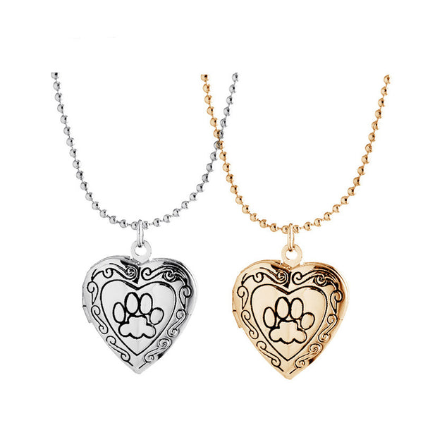 Paw print necklace Locket charm necklace for women (two colors)