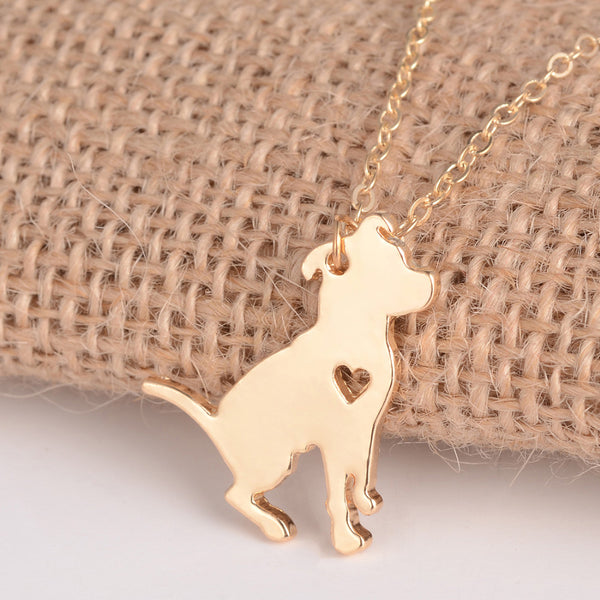 Pit bull dog necklace Charm necklace for women (gold version)