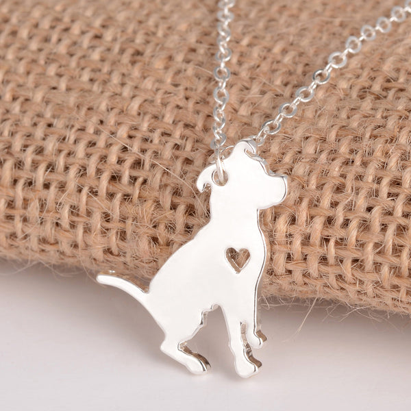 Pit bull dog necklace Charm necklace for women (silver version)