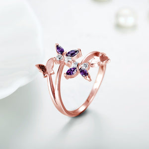 Rings for women Purple butterfly ring (Main view)