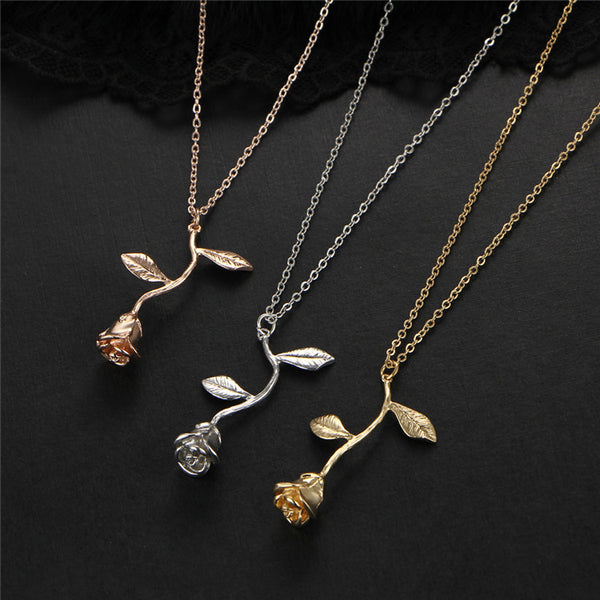 Rose necklace for women flower neclace charm necklace in 3 colors