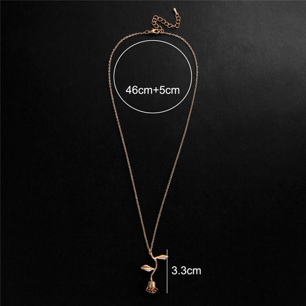 dimensions for the Rose necklace for women flower neclace charm necklace