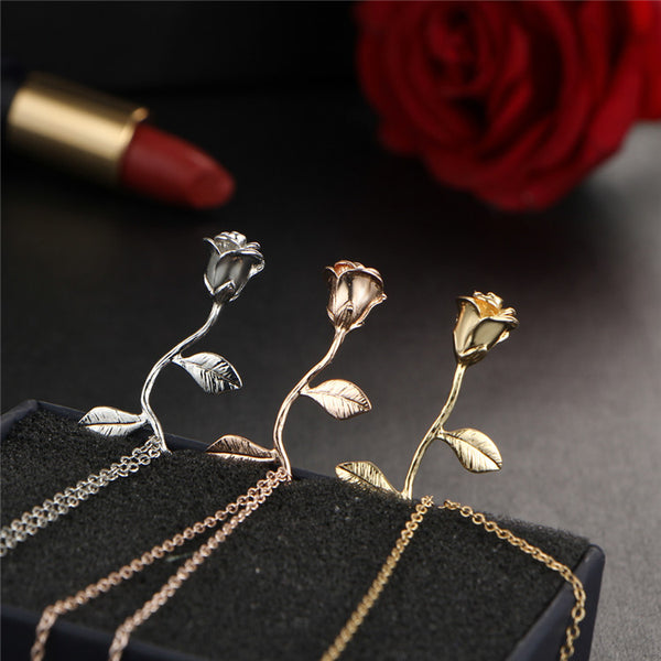 Close up view for Rose necklace for women flower neclace charm necklace