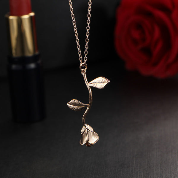 Rose necklace for women Flower neclace Charm necklace in rose gold plating