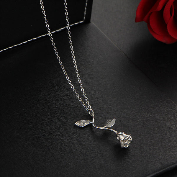 Rose necklace for women Flower neclace Charm necklace in silver plating