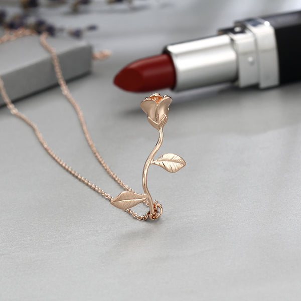 Rose necklace for women Flower neclace Charm necklace Rose gold plated