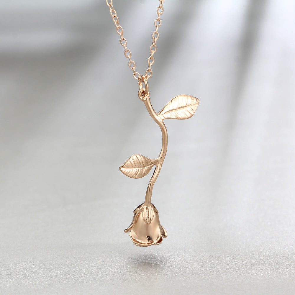 Rose gold plated rose necklace
