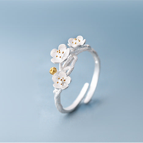 Sakura flower ring Sterling silver rings for women (Main view)