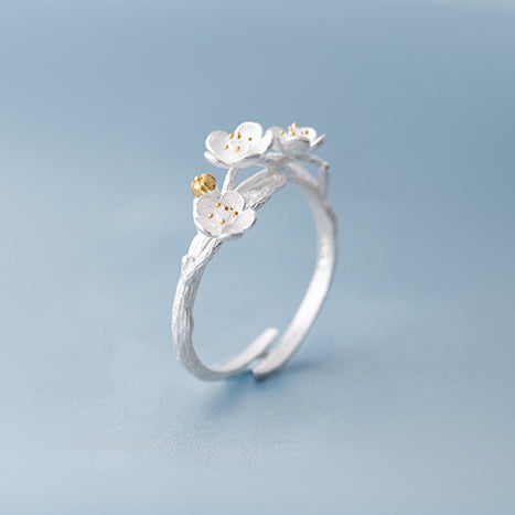 Sakura flower ring Sterling silver rings for women (right up view)
