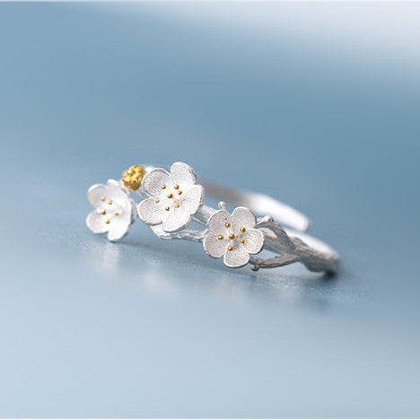 Sakura flower ring Sterling silver rings for women (side view)