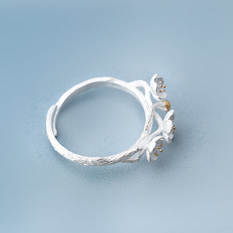 Sakura flower ring Sterling silver rings for women (top view)