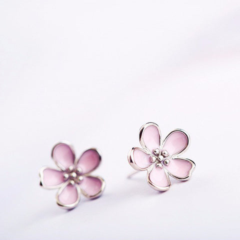 Sakura pink flower earrings Sterling silver stud earrings for women Cheap ear rings (main view)