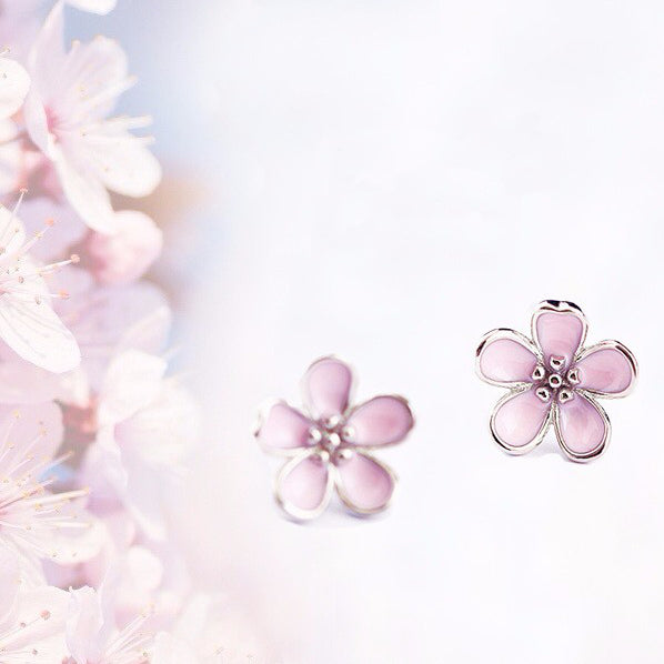 Sakura pink flower earrings Sterling silver stud earrings for women Cheap earring (Cute)