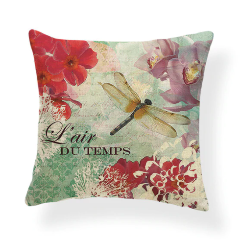 Dragonflies and Butterflies -- Vintage style floral cushion covers (main photo)
