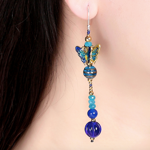 Cloisonné Butterfly Dangle Earrings