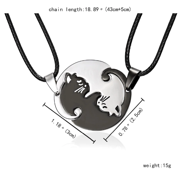 Cat Necklace Pair Ying Yang 2
