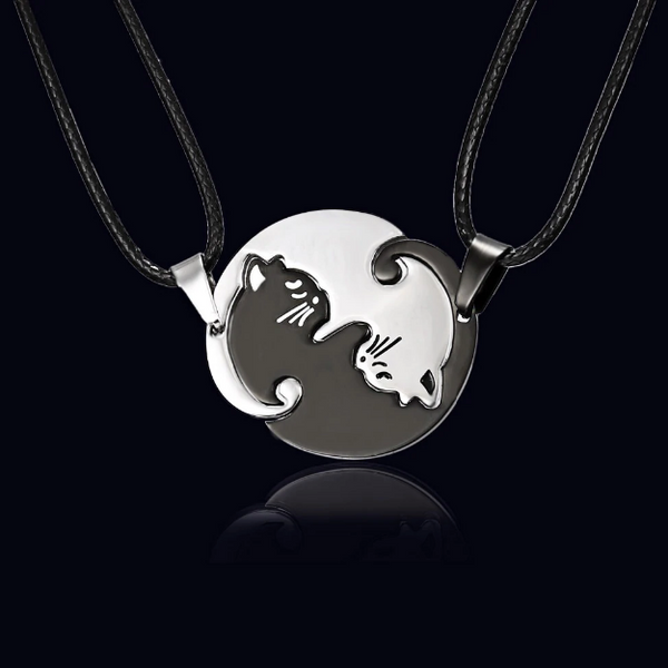 Cat Necklace Pair Ying Yang 3