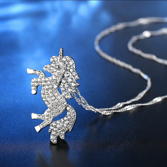Silver unicorn charm necklace for women