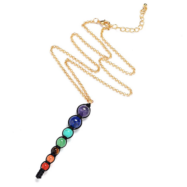7 Chakra Stone Charm Necklace (black)