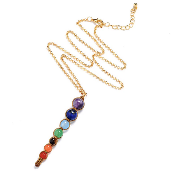 7 Chakra Stone Charm Necklace (brown)