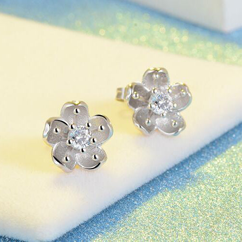 Snowy sakura flower earrings Sterling silver stud earrings for women Cheap earring (pic 2)