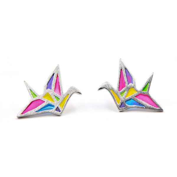 Stud earrings for women, made of 925 sterling silver, in the shape of Japanese paper crane