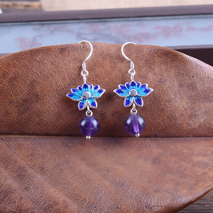 Amethyst Blue Lotus Earrings