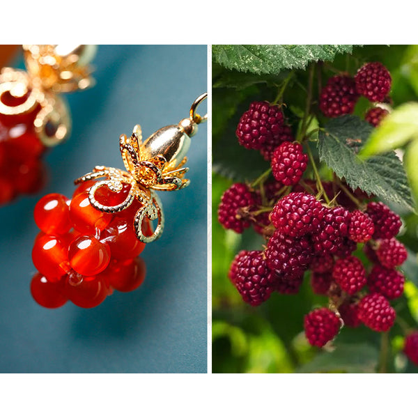 The earrings look like fresh raspberries of summer!