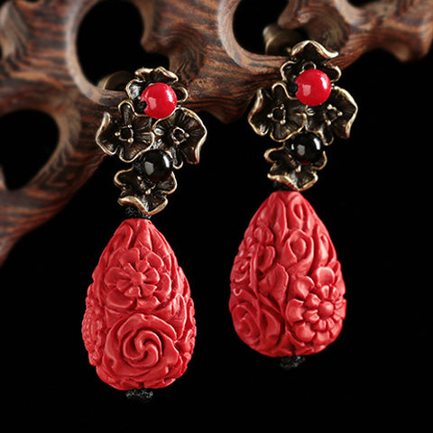 Cinnabar Lacquer Earrings