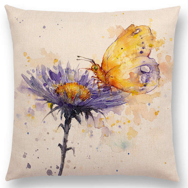 Watercolor Butterflies -- Floral cushion covers Pillow cases (butterfly and daisy)