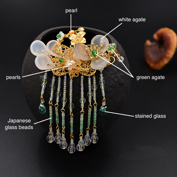 details of the kanzashi. It is decorated with agate, pearls, glass beads and 24K gold plating