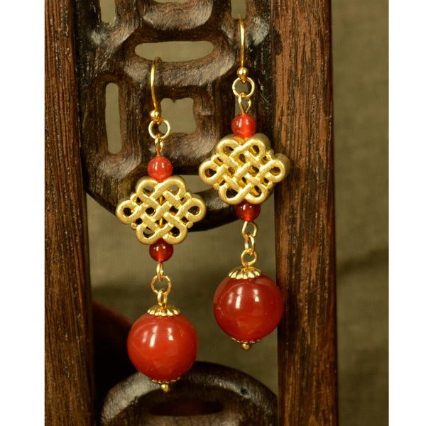 earrings with beautiful red agate beads
