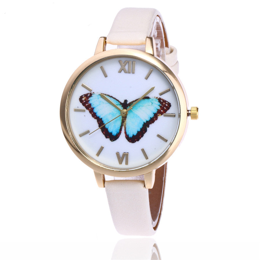 Blue Emperor -- Women's Butterfly Watches (white)
