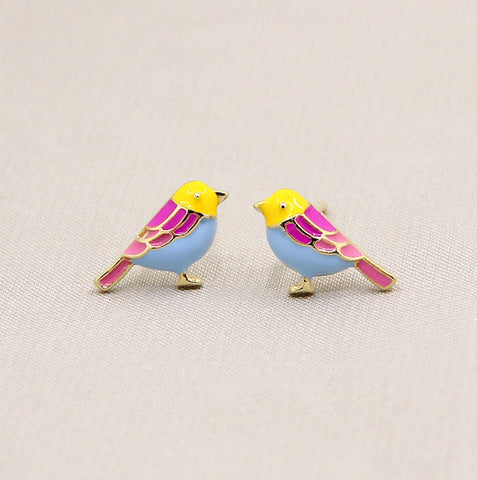 Cute bird stud earrings made of 925 sterling silver