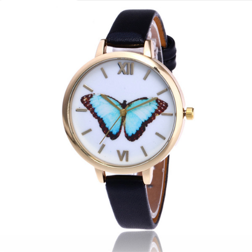 Blue Emperor -- Butterfly Women Watches (black)